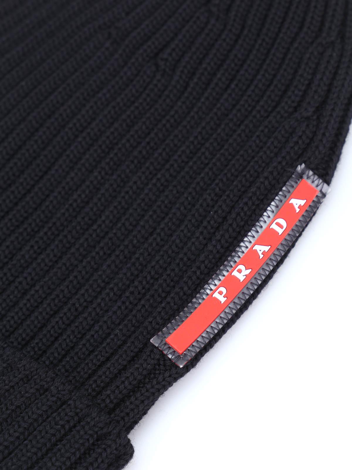 Prada Linea Rossa - Ribbed wool beanie - beanies - SMB1 U97 002 52c9151b5659