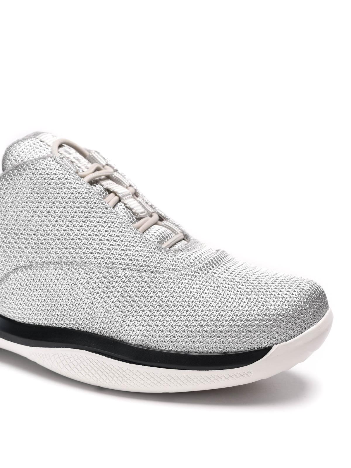 Damen Rossa Fur 3e6205 Sneaker Linea Prada Silber 4AR3jqc5LS