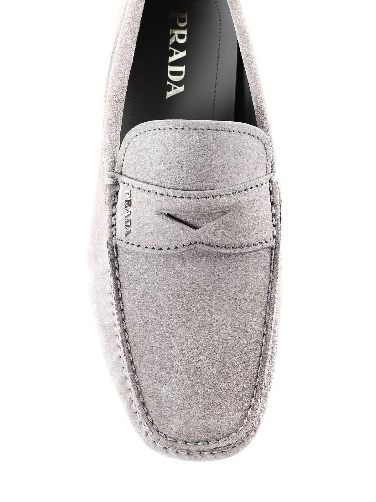 Prada - Light grey suede loafers