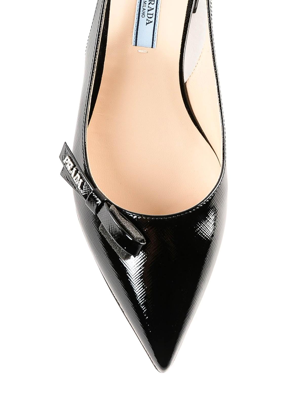 Black patent leather slingback flat