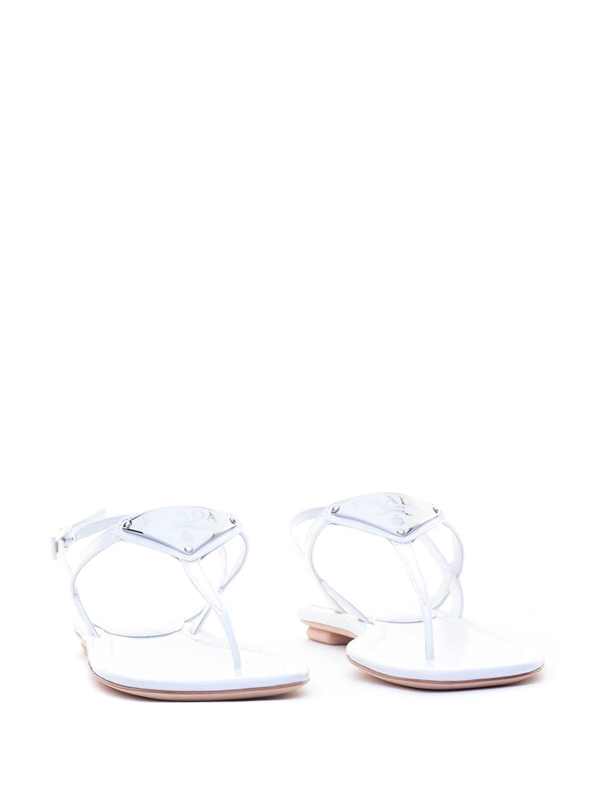 Logo white patent leather sandals