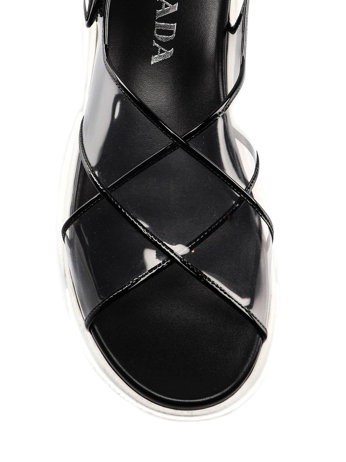 eb8f85bba Prada - Transparent criss cross sandals - sandals - 1X470L3AAUUH5