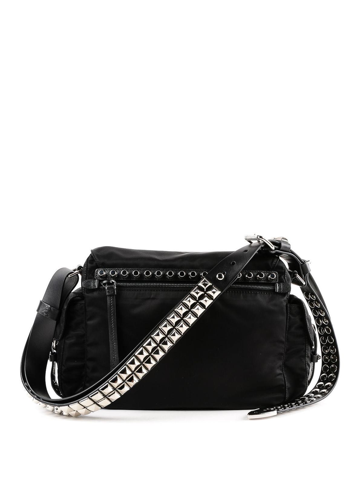 287aa533bb4f Prada - Studded nylon shoulder bag - shoulder bags - 1BD118 2BYB V ...