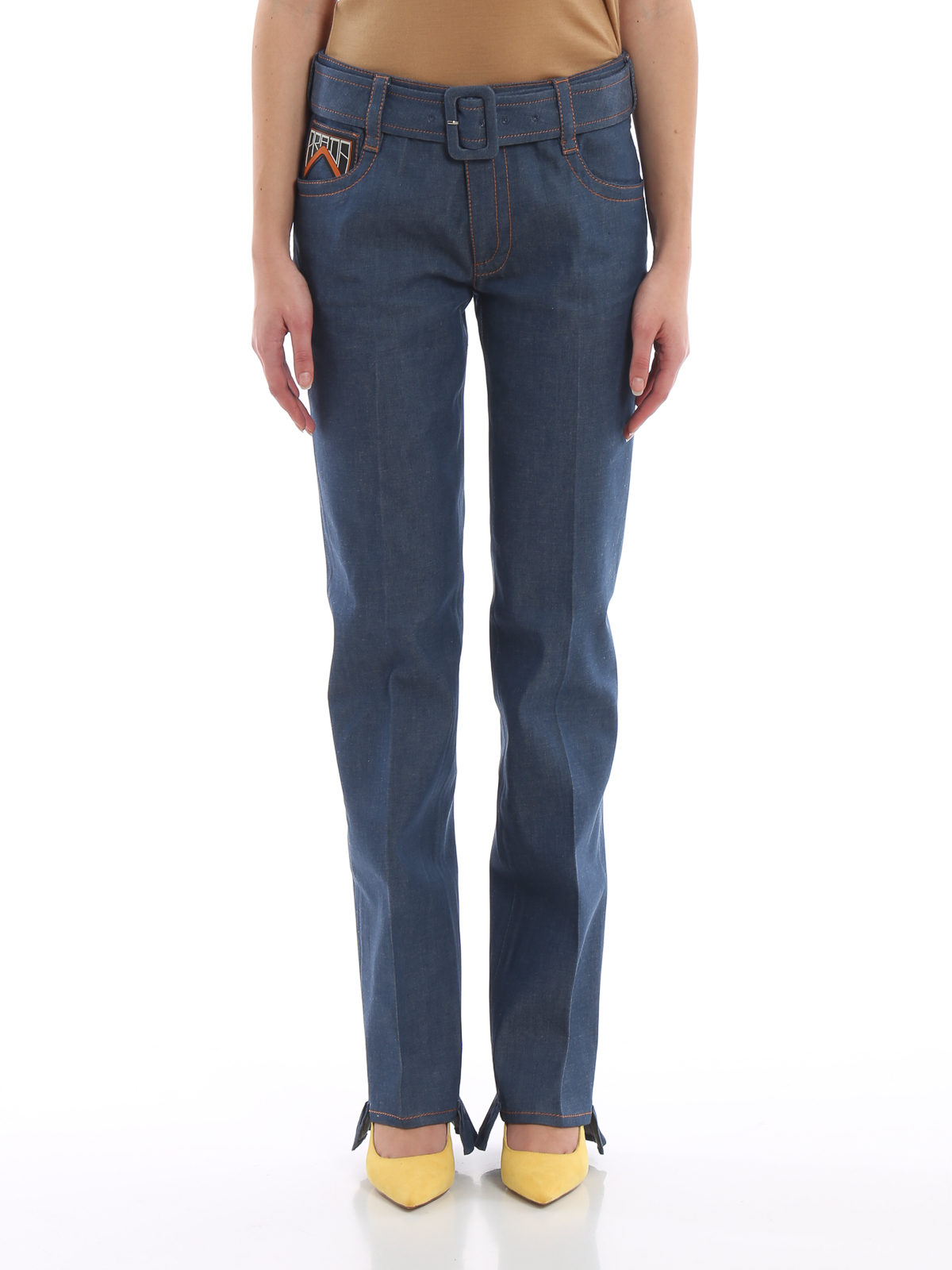 43bce132 Prada - Light compact denim frilled jeans with belt - straight leg ...