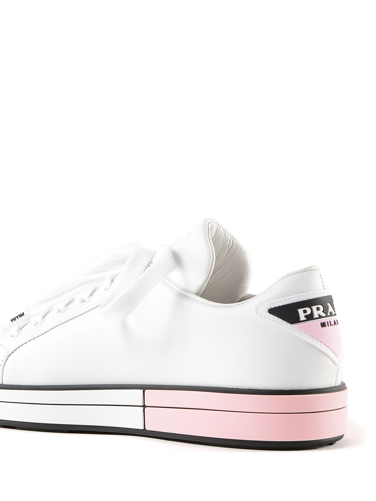 White and pink sole leather sneakers