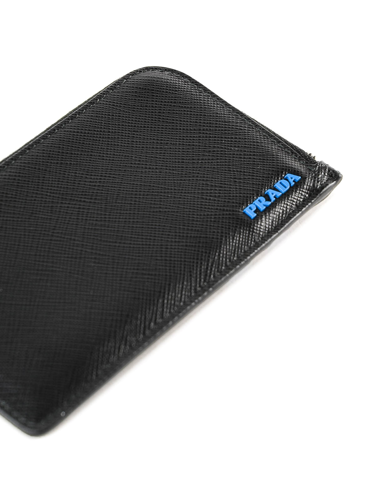 e2961a6d82fa iKRIX PRADA  wallets   purses - Black and blue saffiano leather card holder