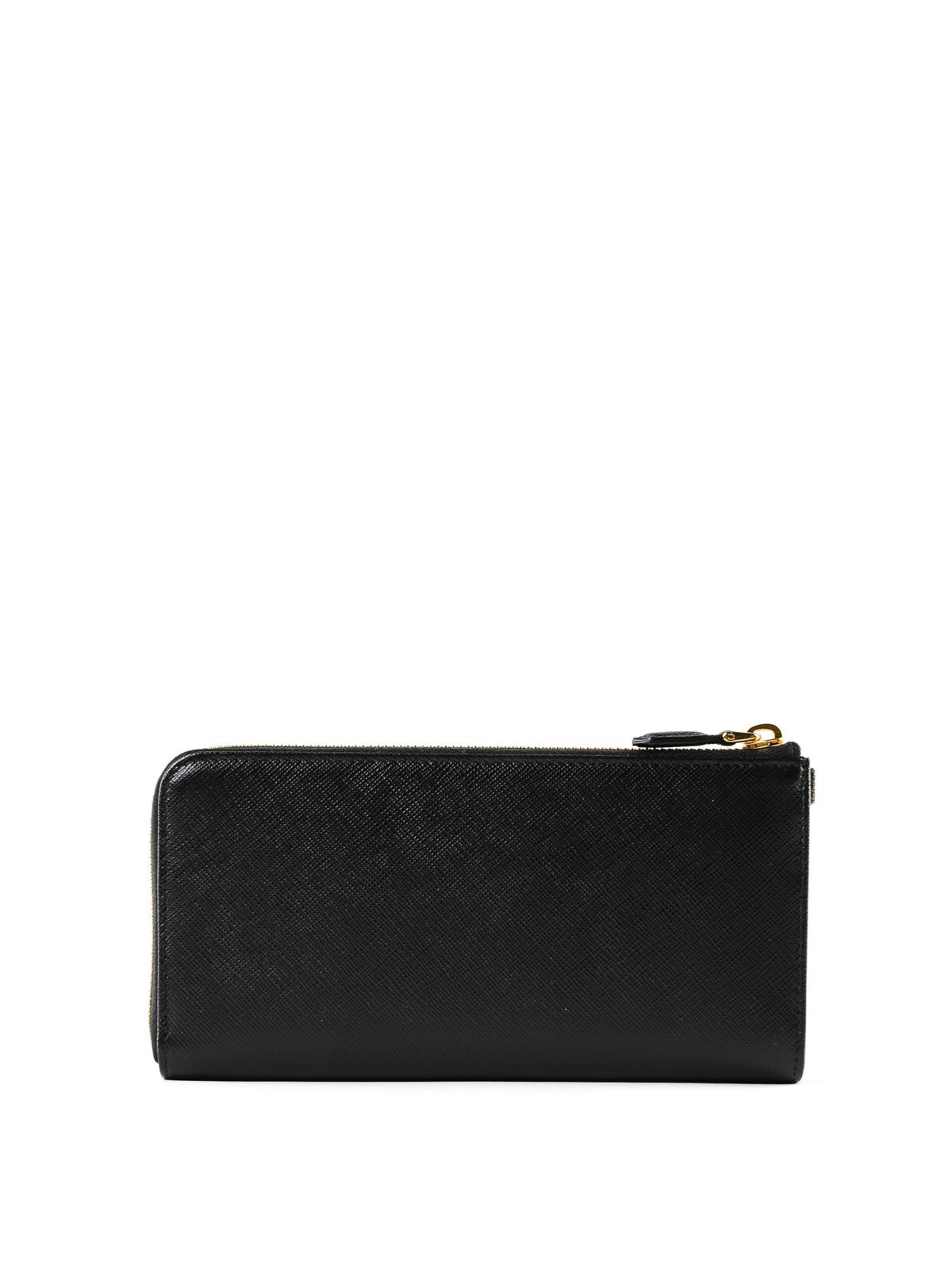 1858f4365e71d9 iKRIX PRADA: wallets & purses - Black Saffiano leather zip around wallet