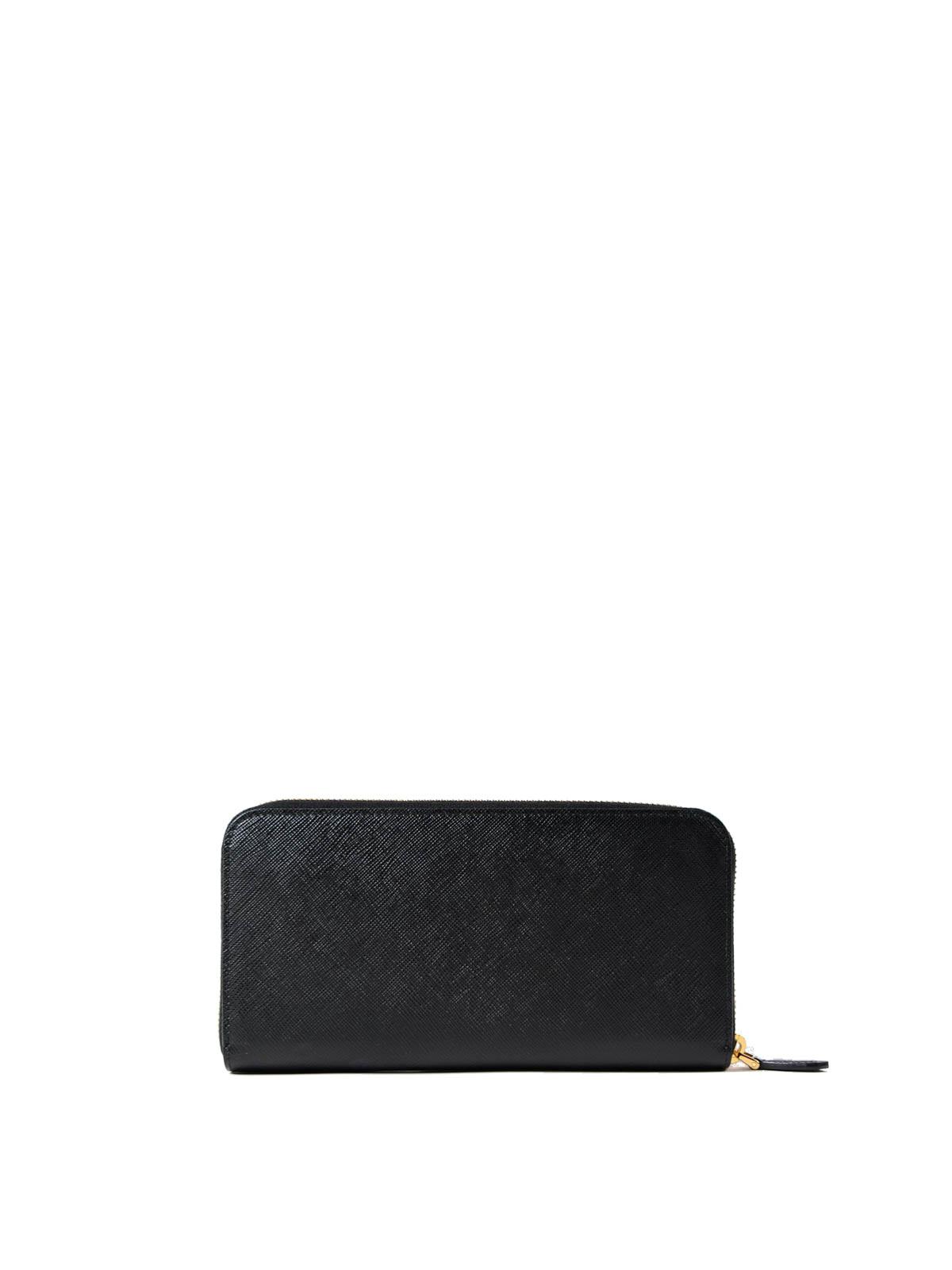 7de29bab875c94 iKRIX PRADA: wallets & purses - Black saffiano zip-around wallet