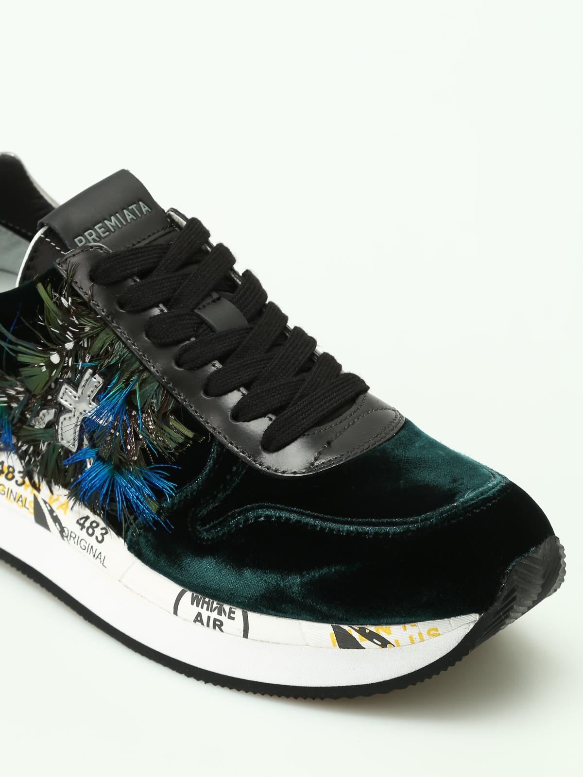 Premiata Sneaker Holly con velluto e piume sneakers