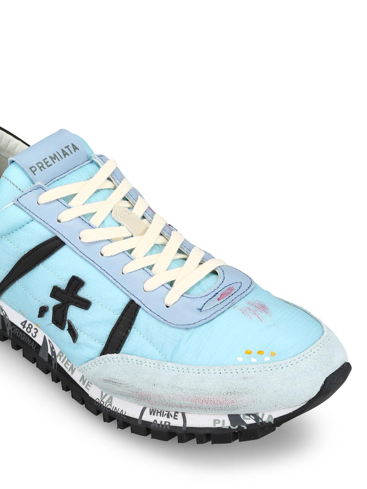 Premiata Sneaker Sean azzurre in pelle e tessuto