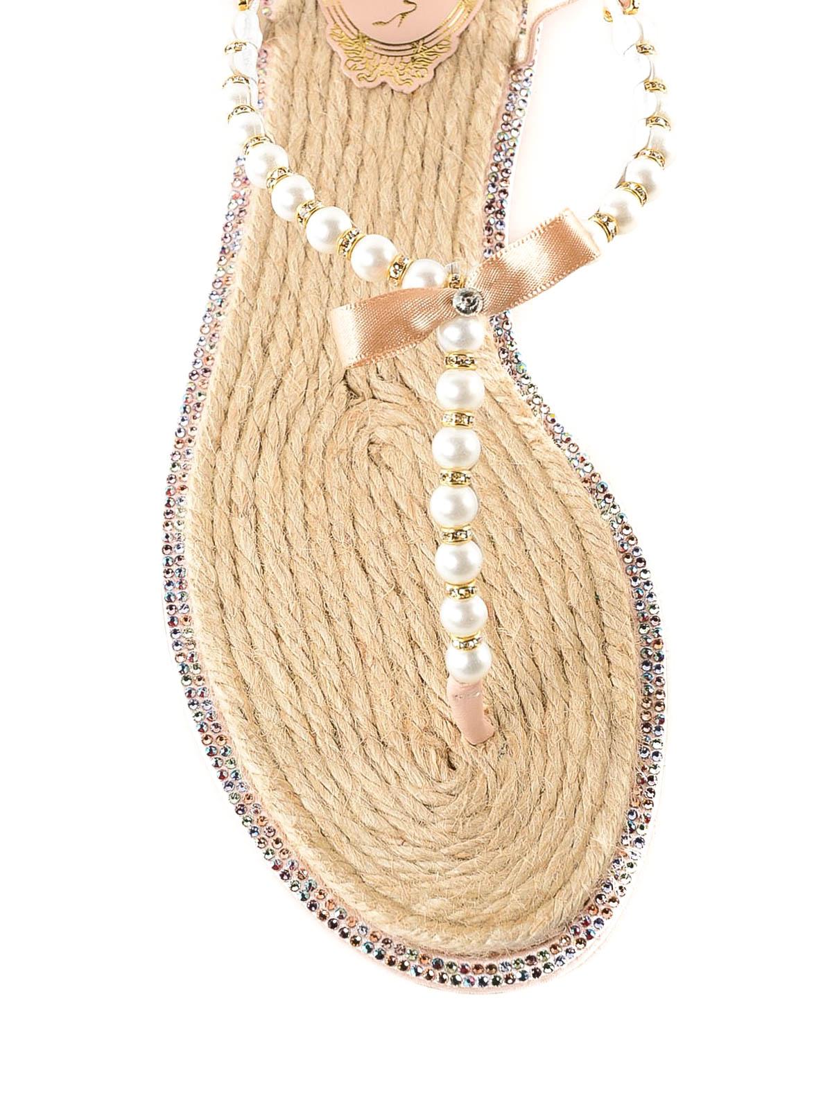 71fc06cec77 iKRIX RENE CAOVILLA  flip flops - Eliza pearl and crystal thong sandals