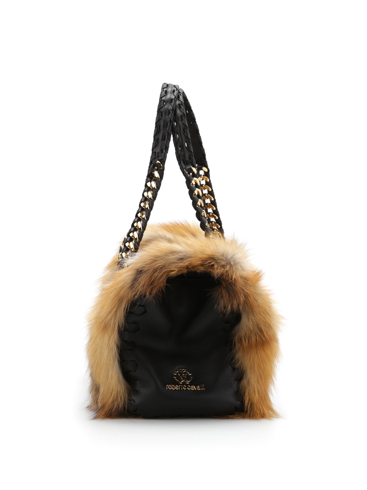 Roberto Cavalli Fox fur bowler bag