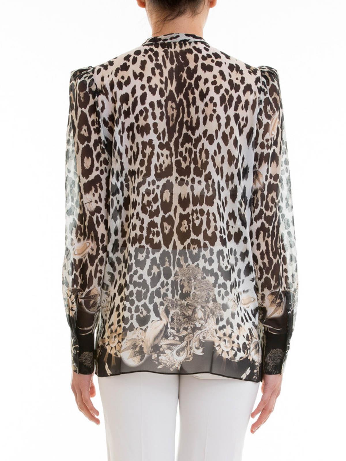 14ecc64467e10 iKRIX ROBERTO CAVALLI  shirts - Animal print silk ruched shirt
