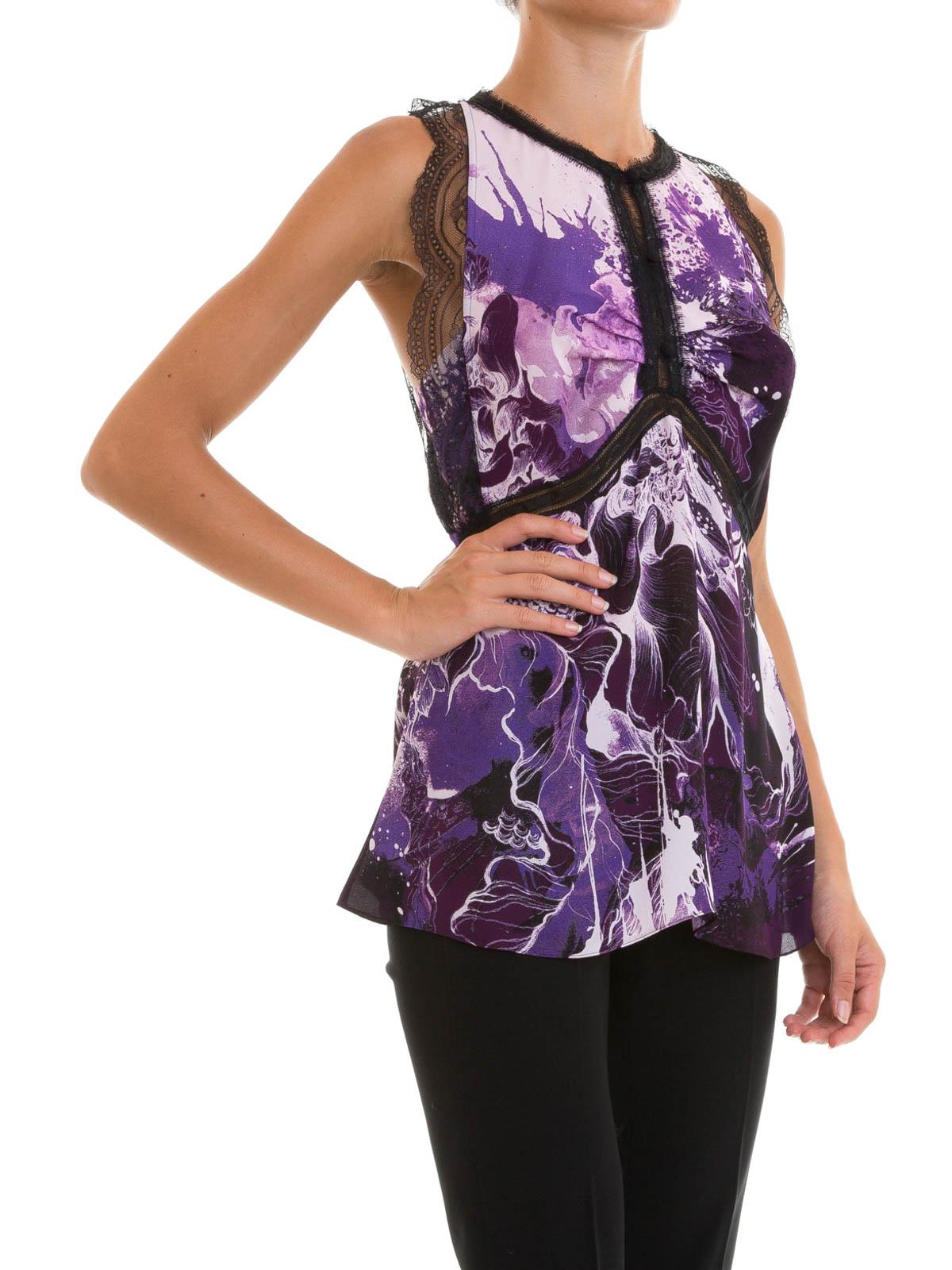 Kimono Floral printed silk top by Roberto Cavalli - Tops ...