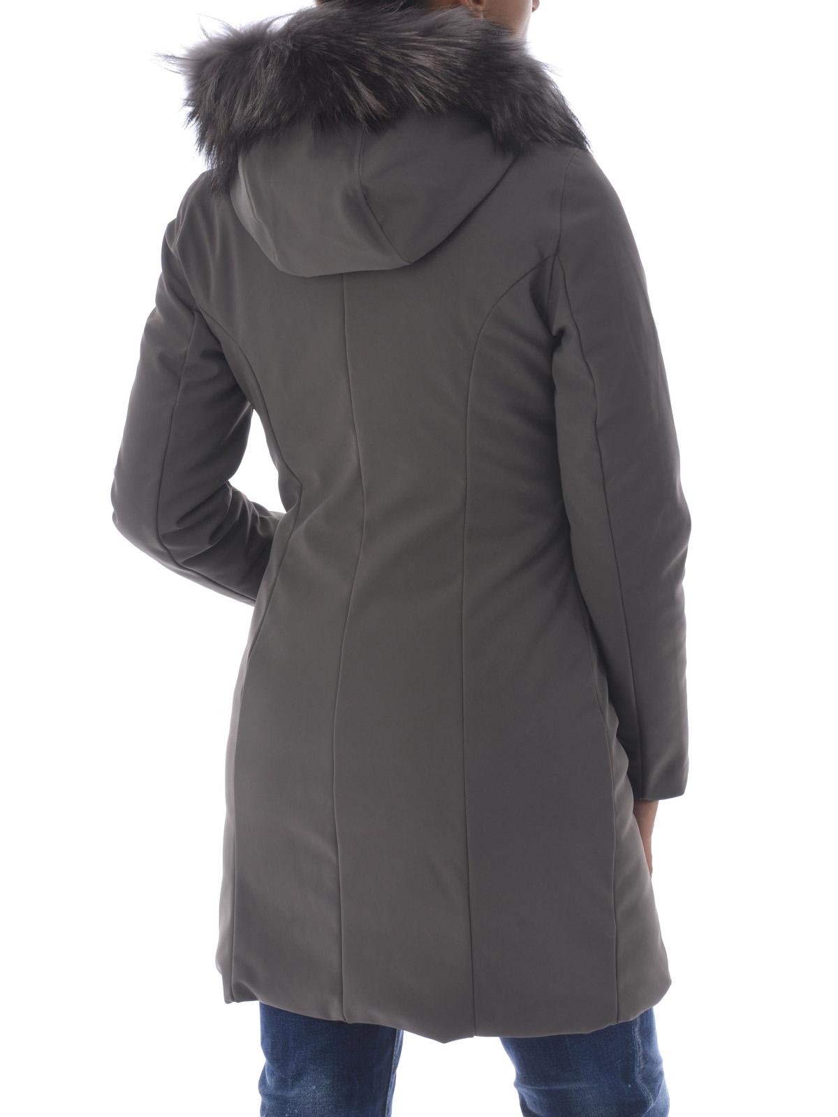 W17501F80 Winter Manteaux Gris Fur Long Lady rembourrés RRD x0XwqdaO0