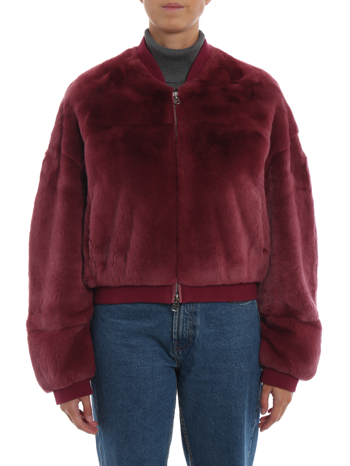 S W O R D 6 6 44 Real Fur Cropped Bomber Jacket Fur Shearling