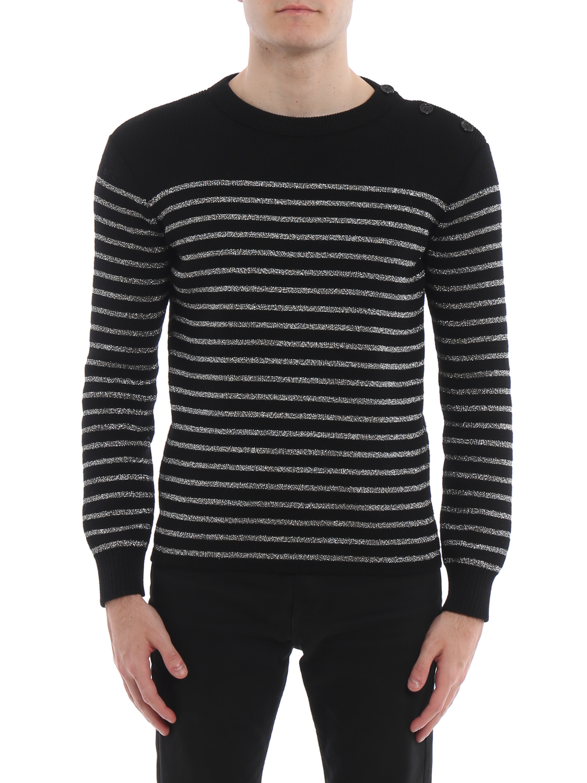 Saint Laurent - Striped lurex and wool blend sweater - crew