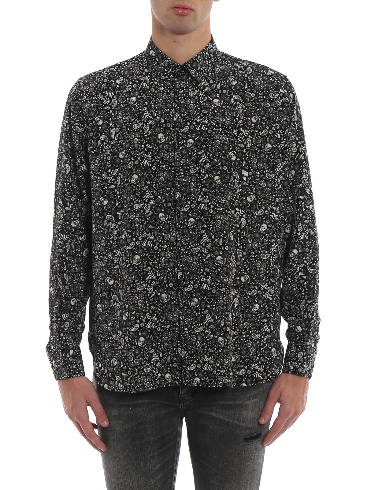 fe32c407129 iKRIX SAINT LAURENT: shirts - Silk crepe de chine Skull shirt