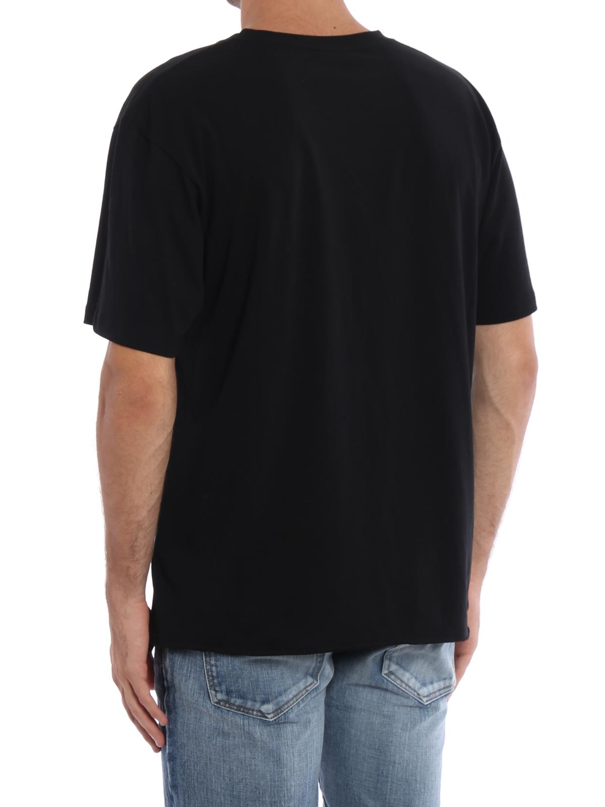 saint laurent t shirt with printed signature t shirts. Black Bedroom Furniture Sets. Home Design Ideas