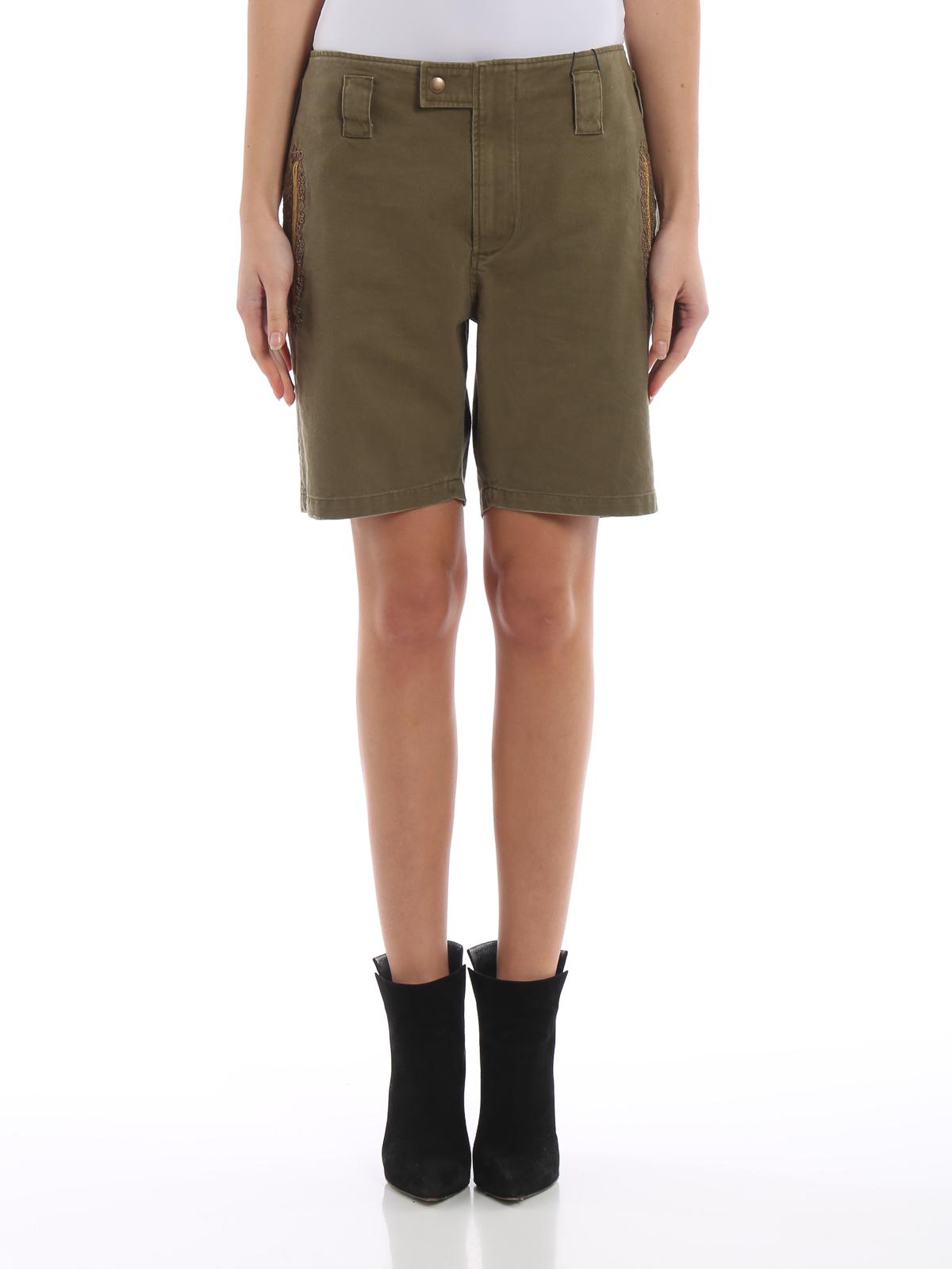 08ee1404c Saint Laurent - Army green cotton blend shorts - Trousers Shorts ...