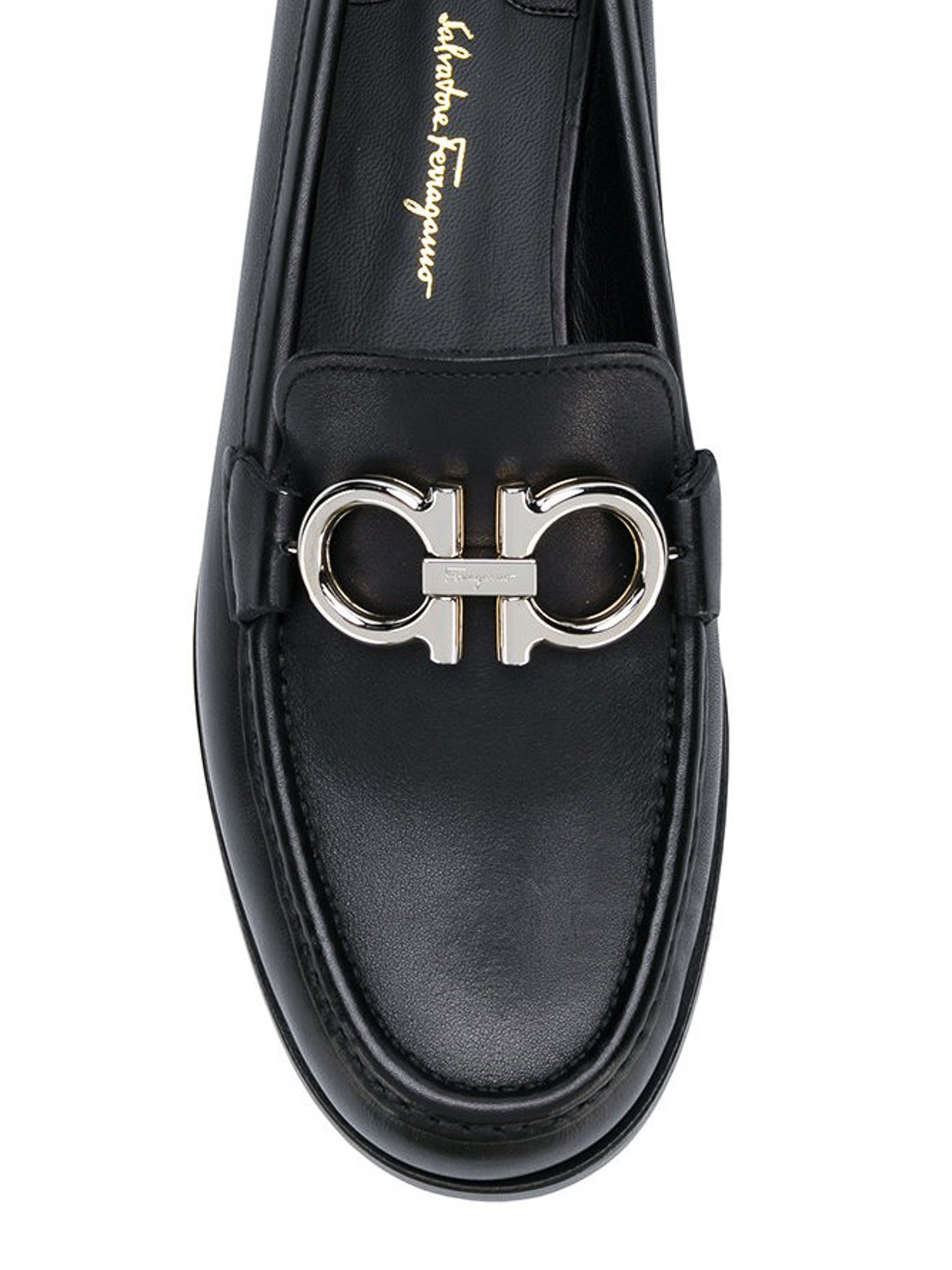 ab2876858e3 iKRIX SALVATORE FERRAGAMO  Loafers   Slippers - Rolo black leather loafers  with Gancini