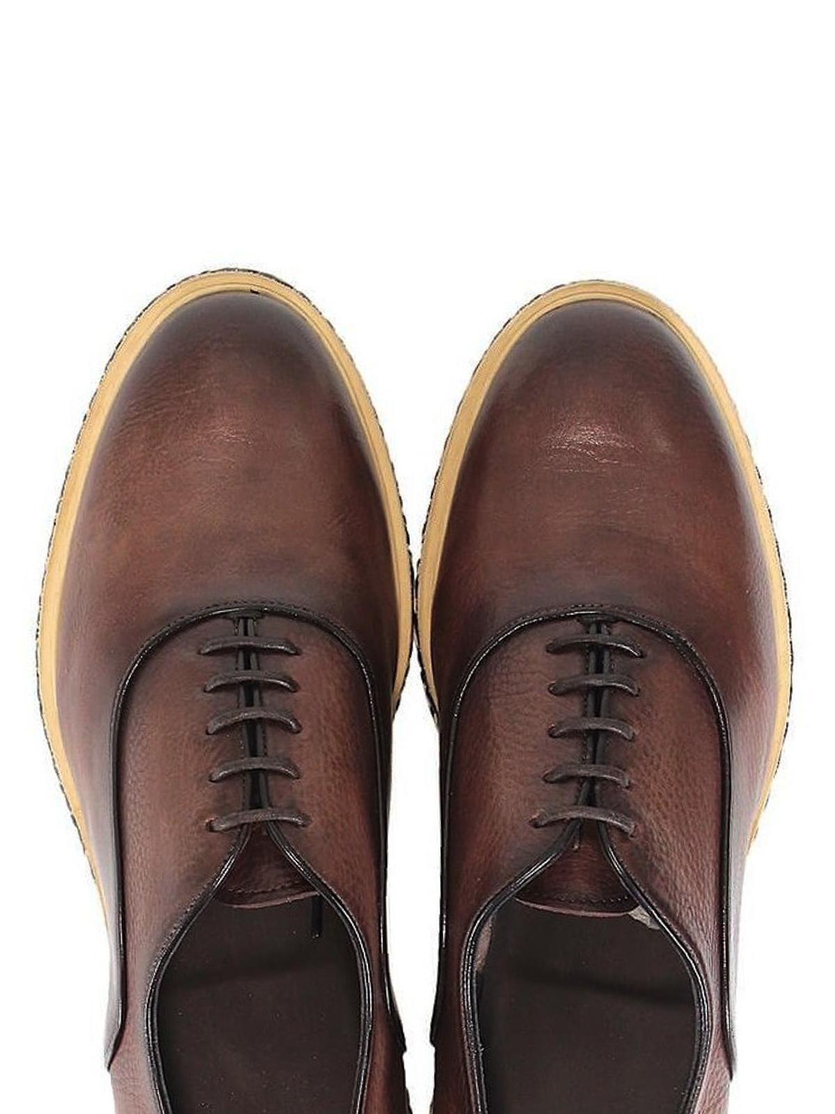 Santoni - Stringate in pelle marrone vintage - scarpe stringate - 14028 c5f380924f7