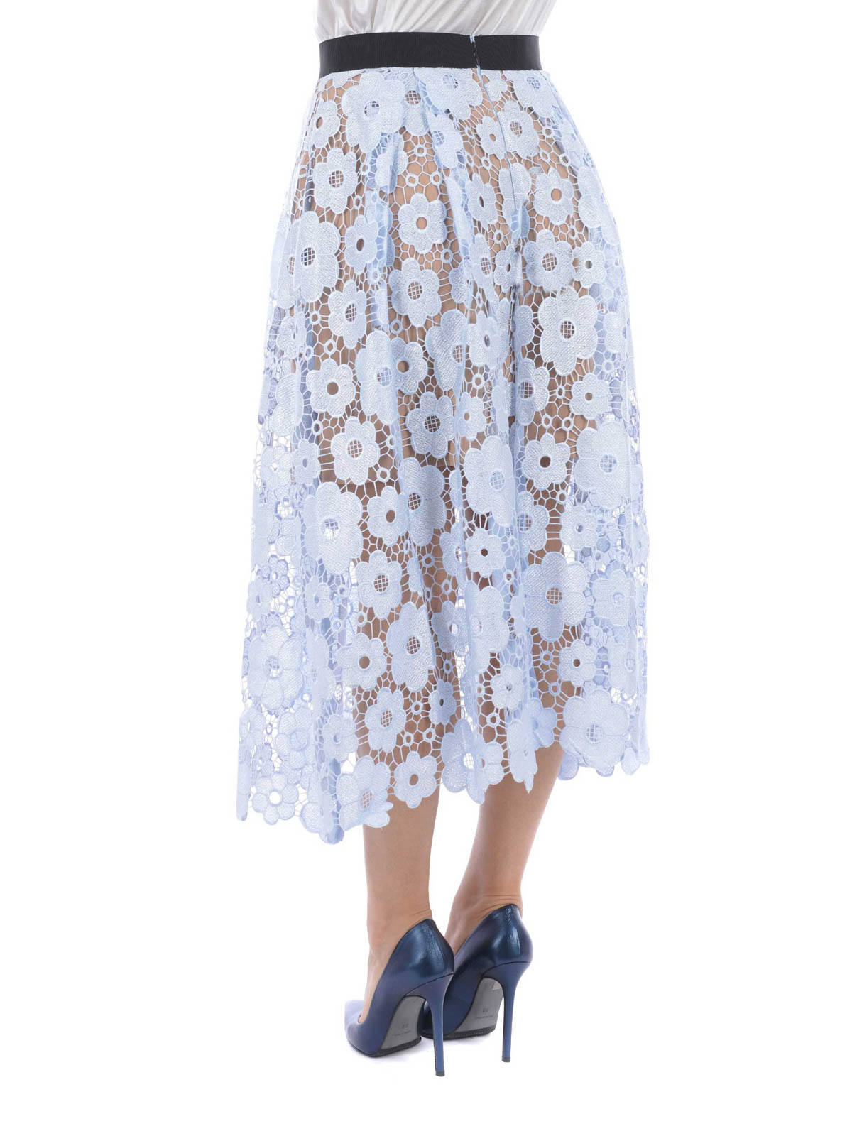 edfcfca23a015 Self Portrait - FLORAL LACE SKIRT - Knee length skirts & Midi - SP10 ...