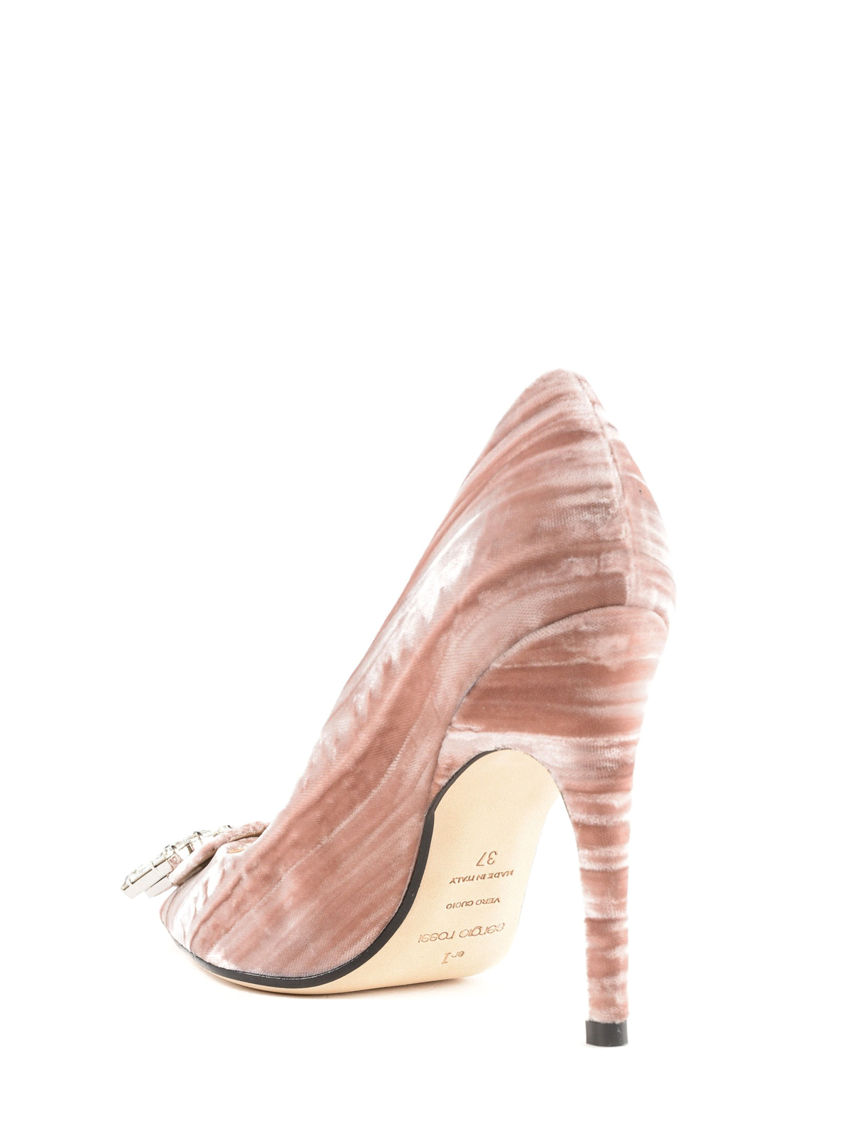 sr1 pale pink velvet jewel pumps