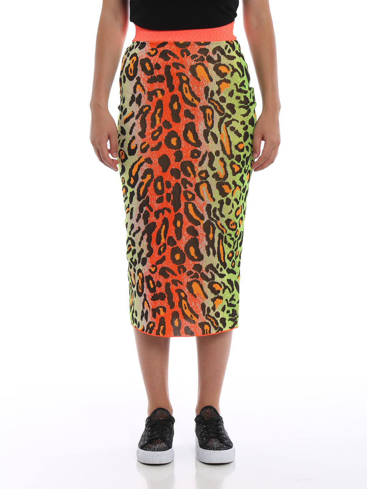 ebe9d389d9 iKRIX STELLA McCARTNEY: Knee length skirts & Midi - Fluo leopard print  pencil skirt
