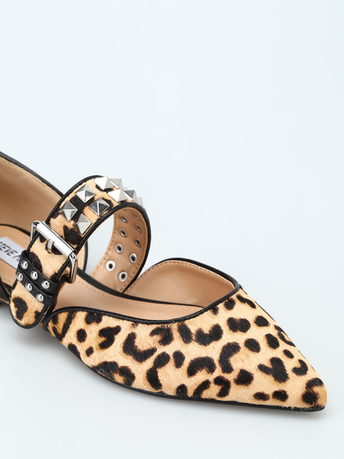 Pixel stud embellished calf hair pointy
