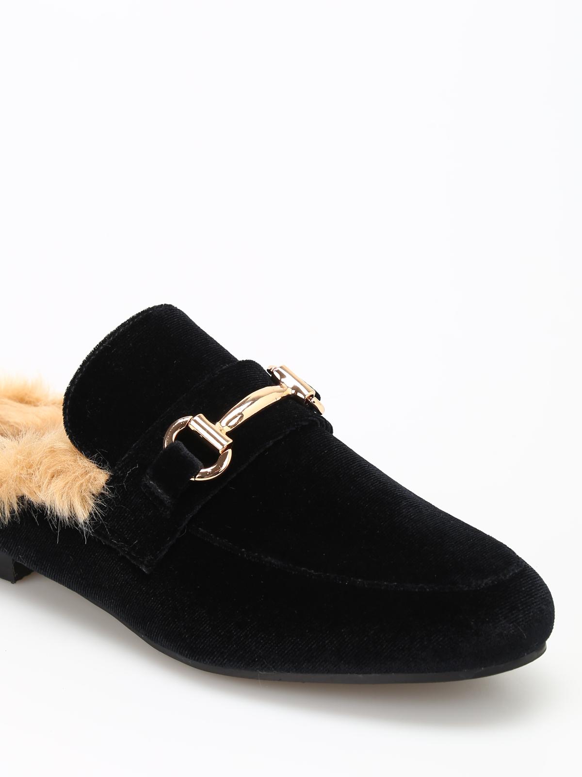 Jill faux fur lined velvet slippers