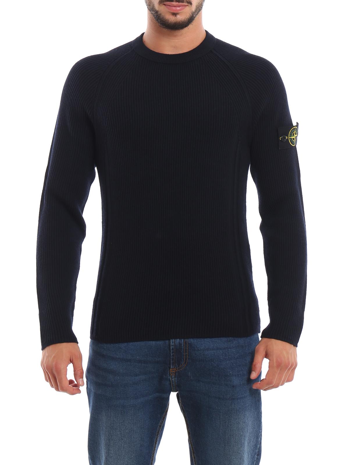 selezione premium 437b1 17d37 Stone Island - Girocollo in lana a coste inglesi - maglia ...