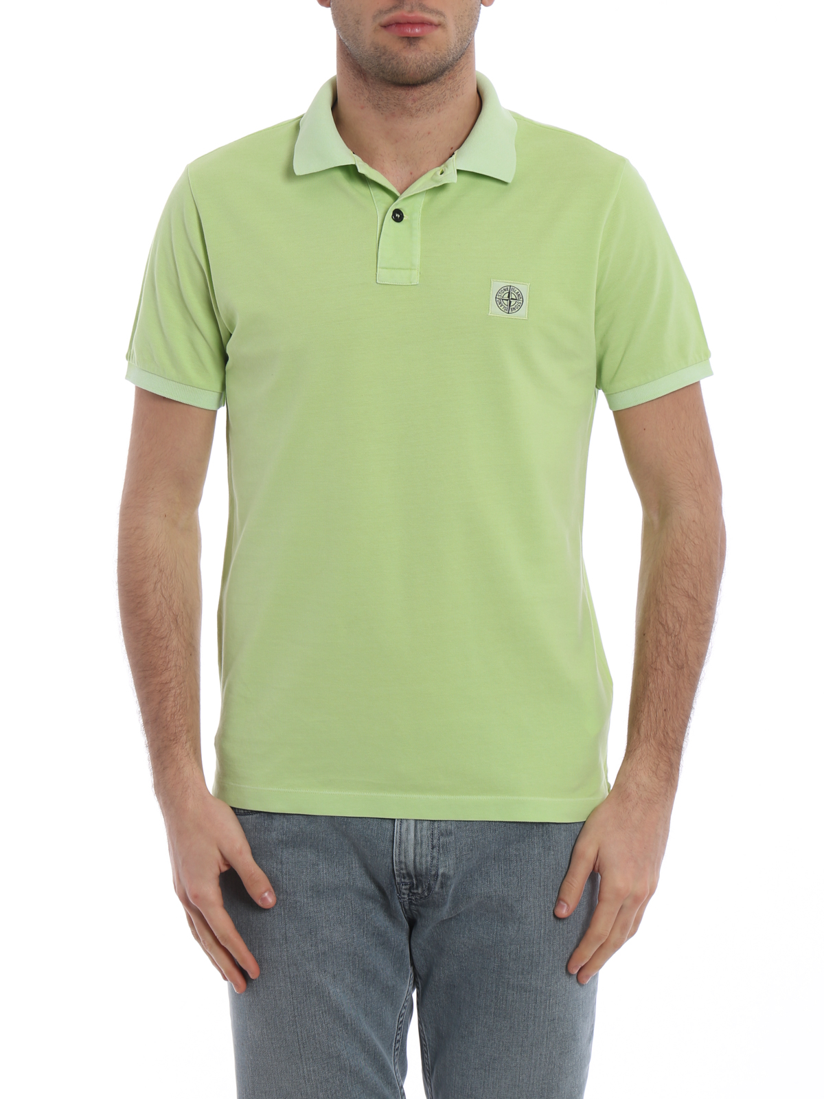 Stone Island Green Garment-Dyed Polo Shirt