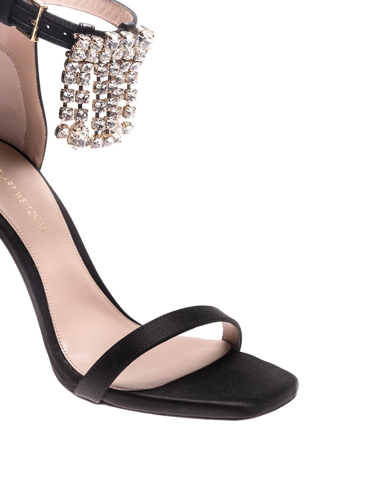 a5383909a98d5 iKRIX Stuart Weitzman  sandals - Nudist silk satin fringed sandals