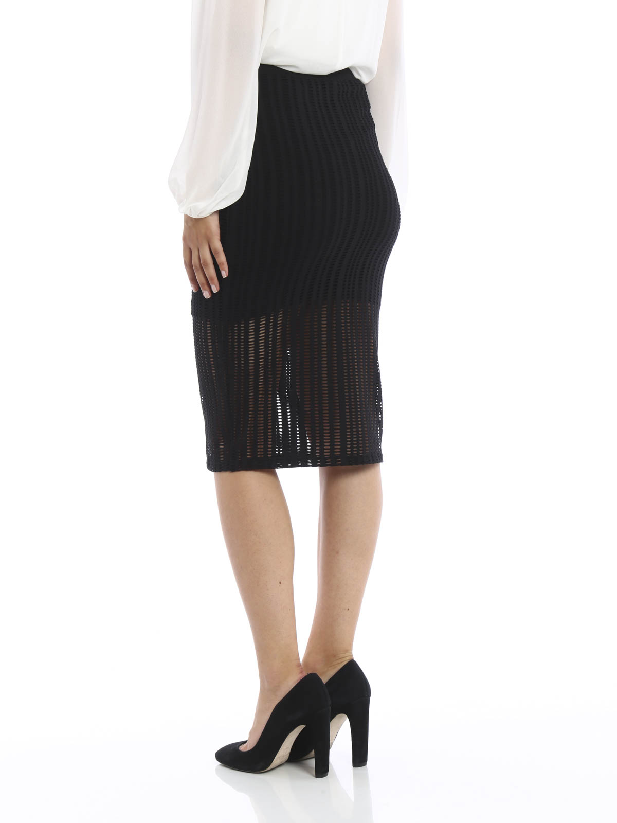 iKRIX T By Alexander Wang: Knee length skirts & Midi - Perforated jersey pencil  skirt