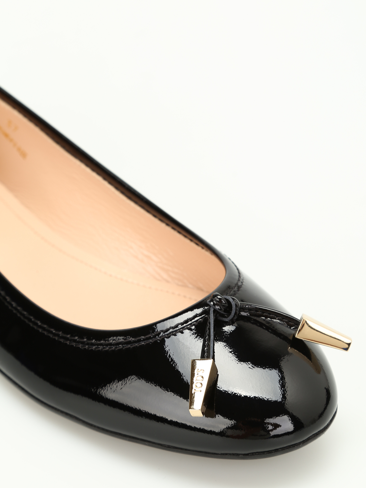 7bccb0b01c3 Tod S - Studded patent leather ballerinas - flat shoes ...