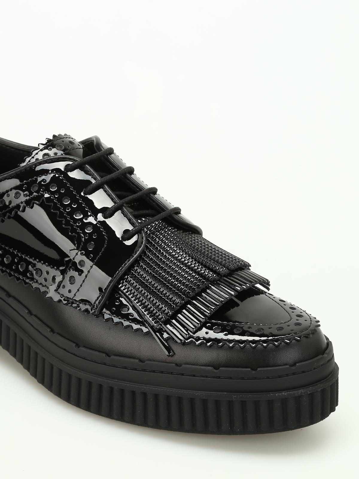 new concept e7e49 cd6eb Tod'S - Stringate in vernice con frangia - scarpe stringate ...