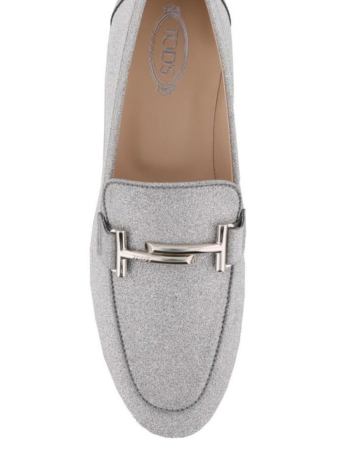 177c950a86c Tod S - Double T silver glitter leather loafers - Loafers   Slippers ...
