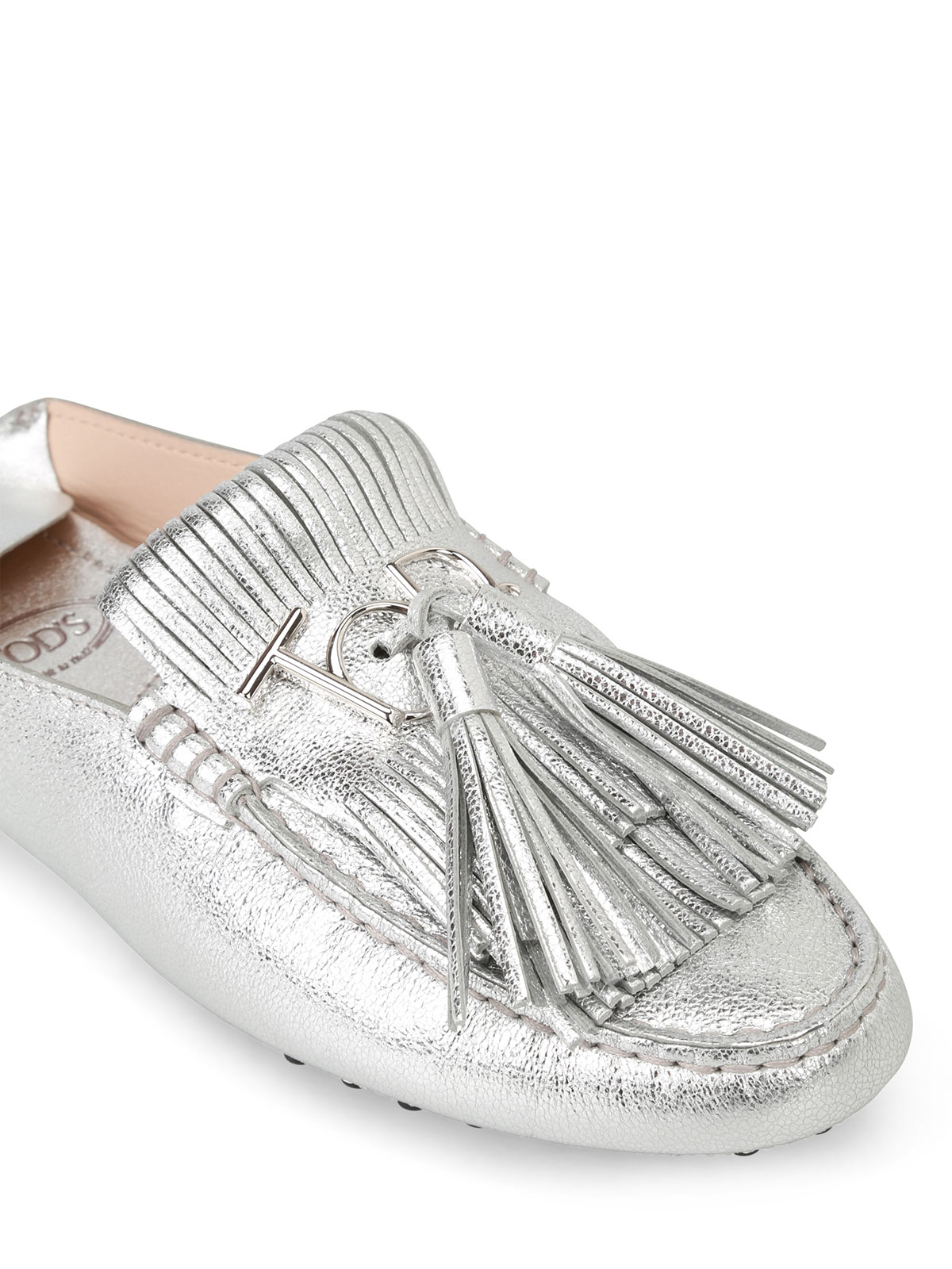 62e297ed10d Tod S - Fringed silver loafers with tassels - Loafers   Slippers ...