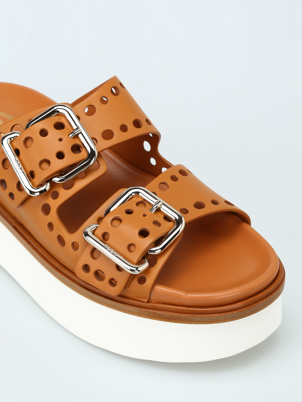 Tod'S - Drilled strap platform sandals