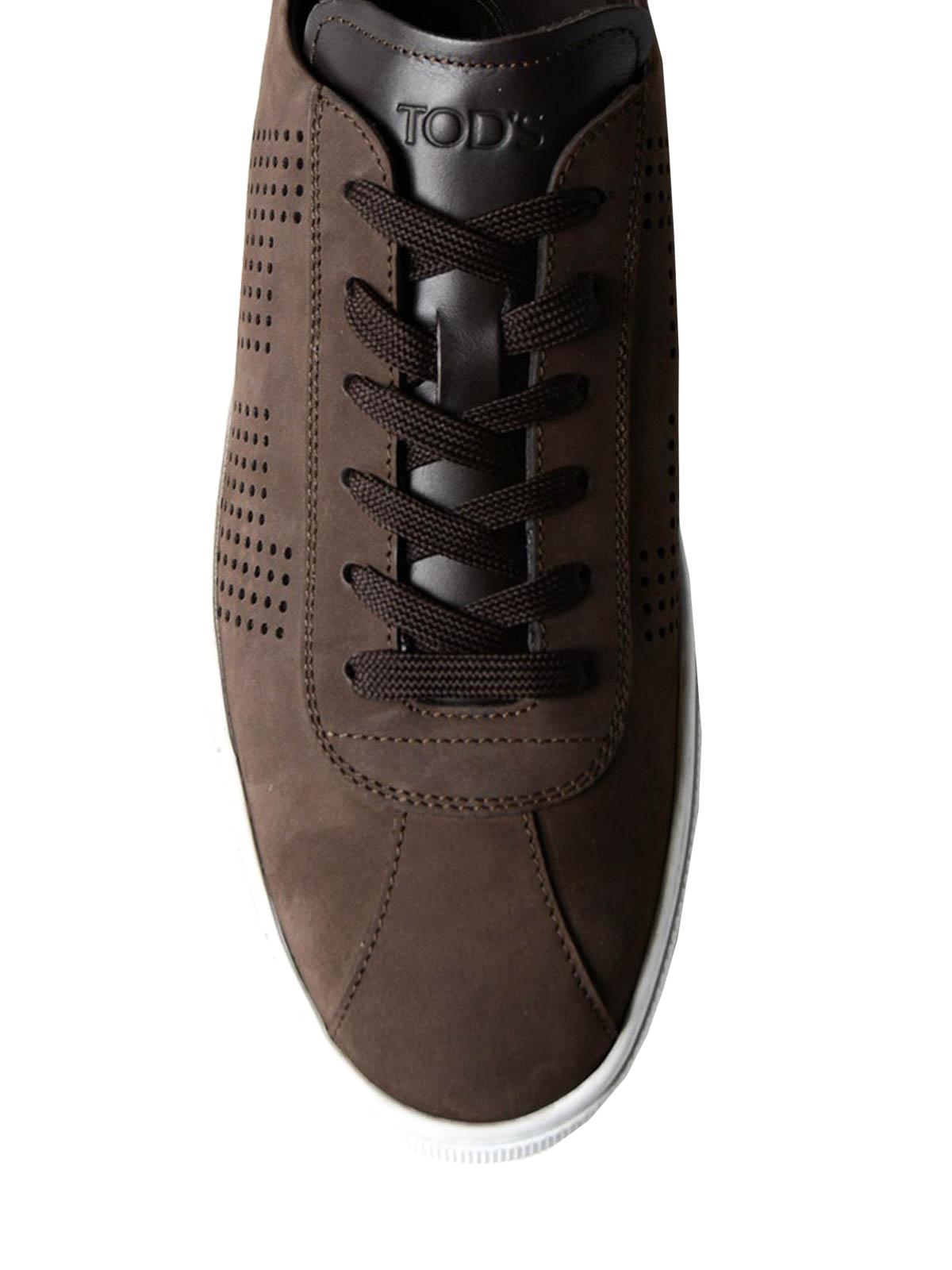 Dark brown suede low top sneakers