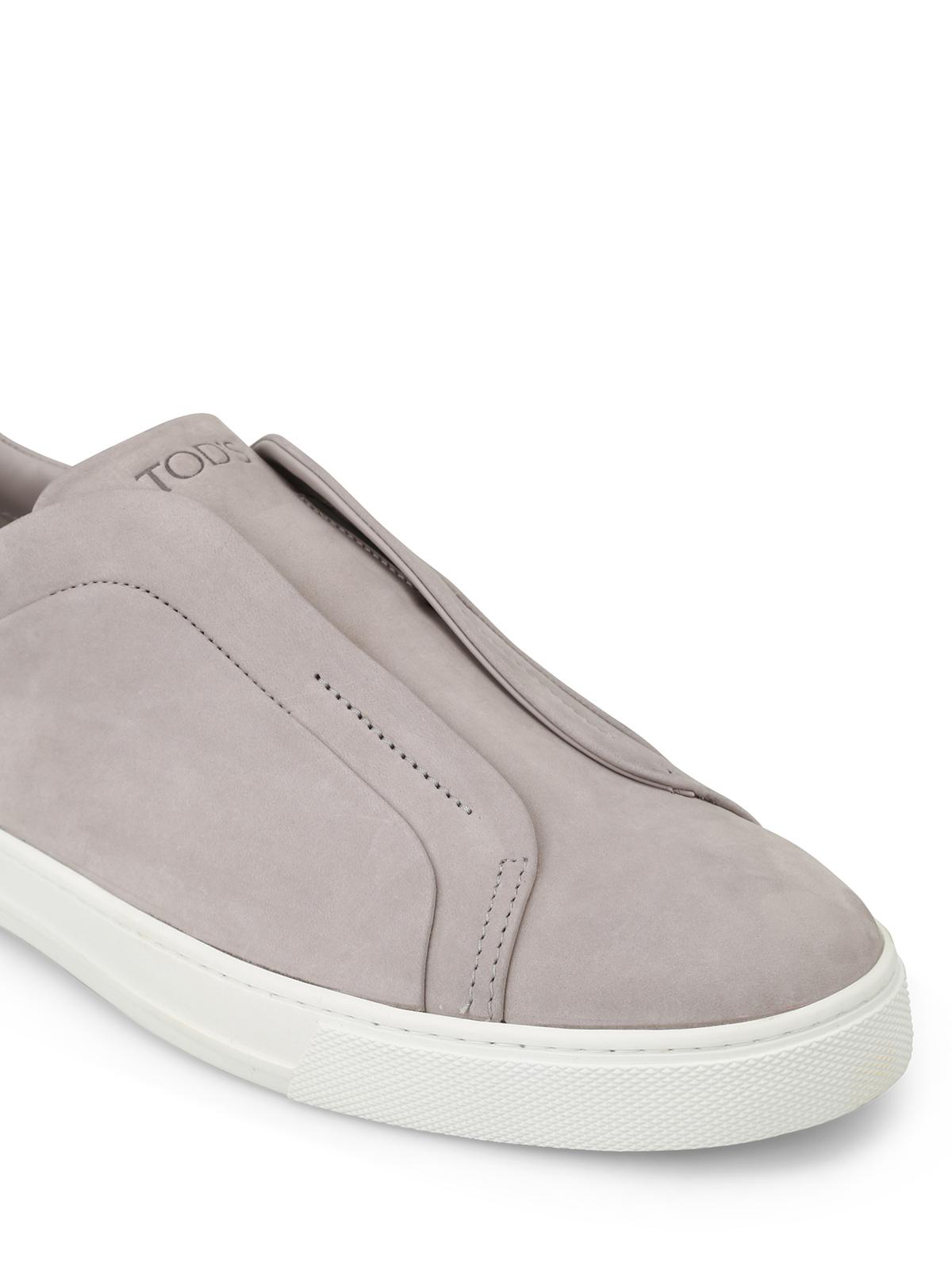 Tod'S - Light grey nubuck slip-ons