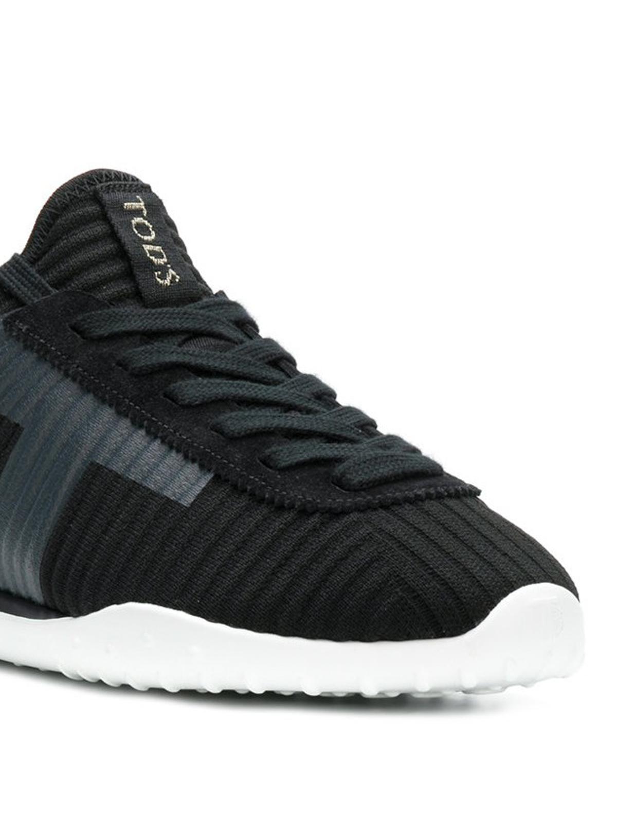 T Tod's A Maglia Ikrix Neri Applicata Coste In Sneakers Con Camoscio Nnv0m8w