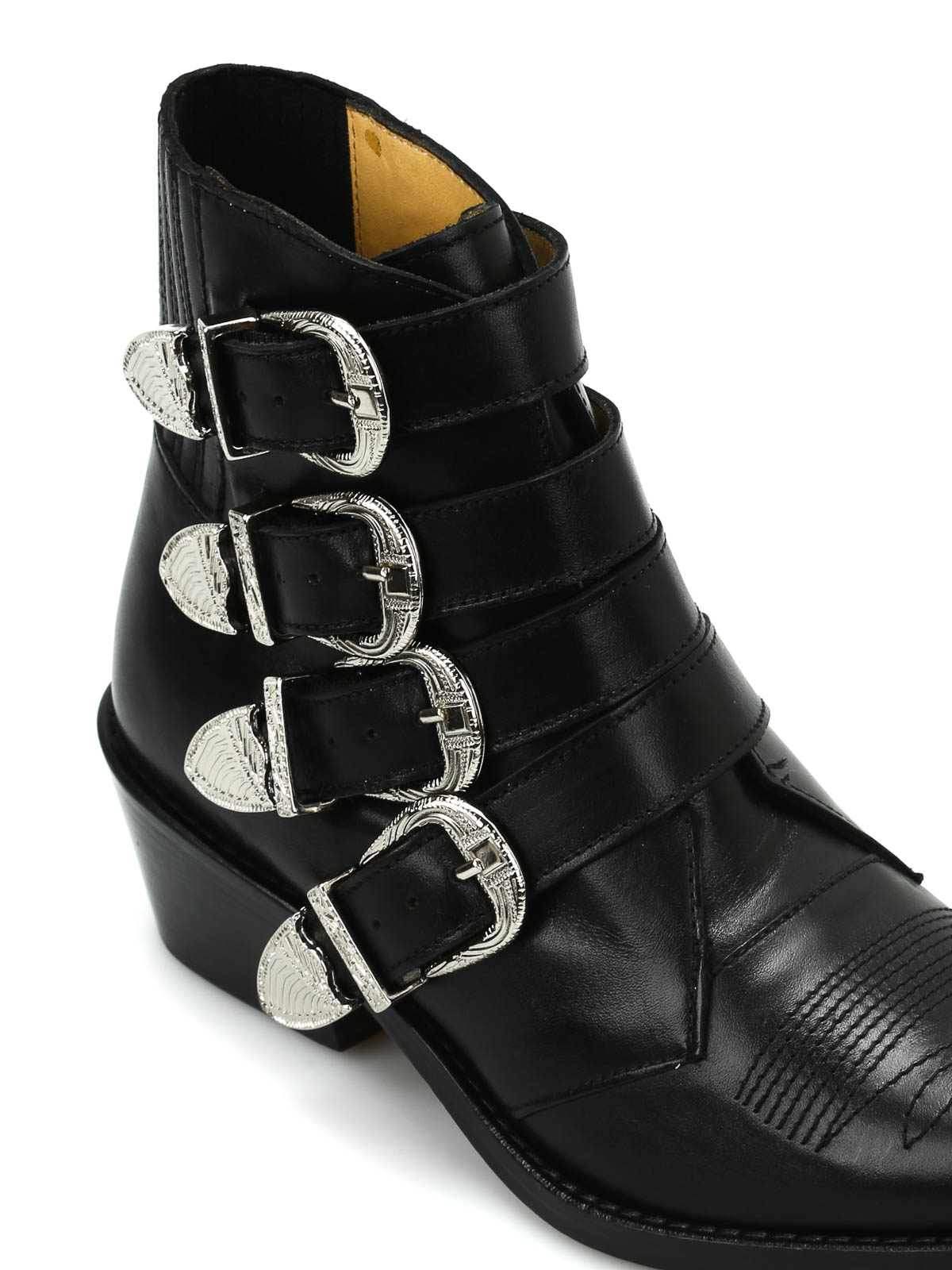 Toga - Buckle Detailed Leather Ankle Boots - Ankle Boots - A J006 Black Leather-9948