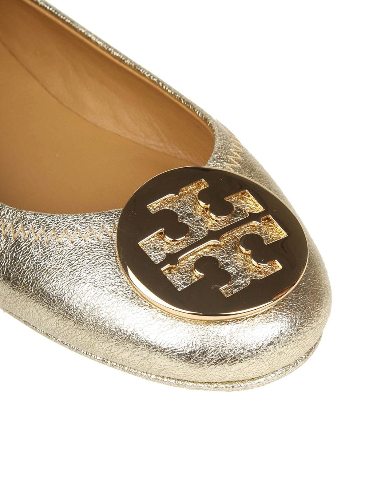 66a46a5009d84 Ikrix tory burch flat shoes minnie metallic leather folding flats jpg  1200x1600 Gold tory burch slippers