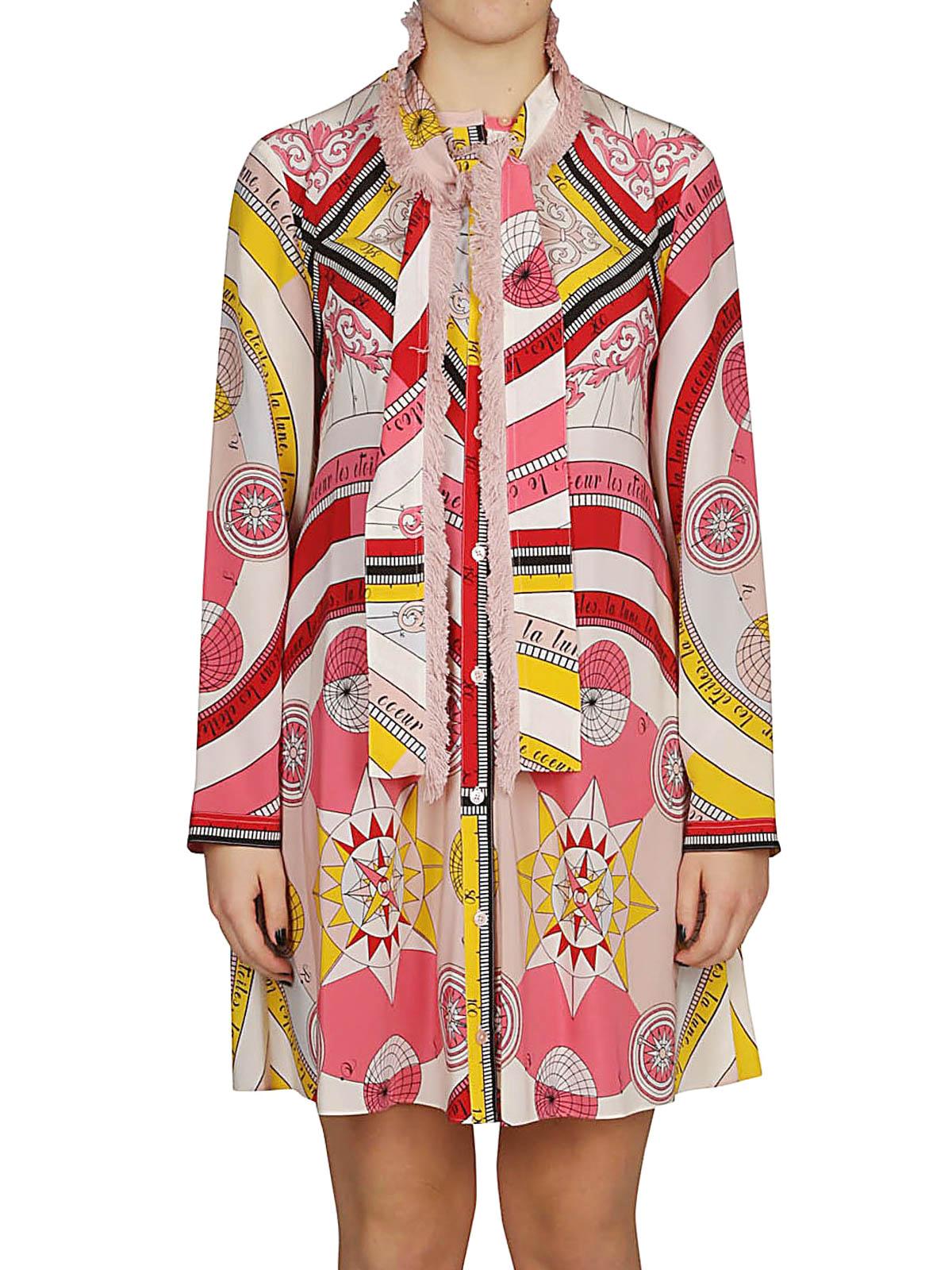 a95a765490d iKRIX TORY BURCH  knee length dresses - Fringe bow Constellation silk shirt  dress