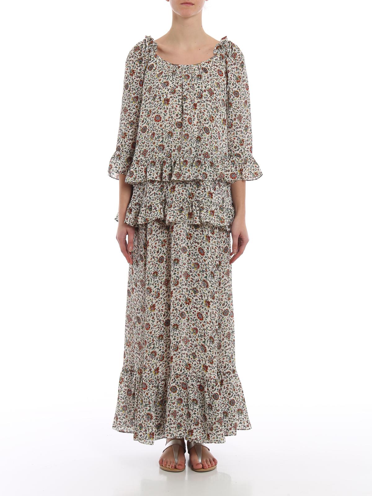 429f0ec6530b iKRIX TORY BURCH  maxi dresses - Flower print ruffled silk maxi dress
