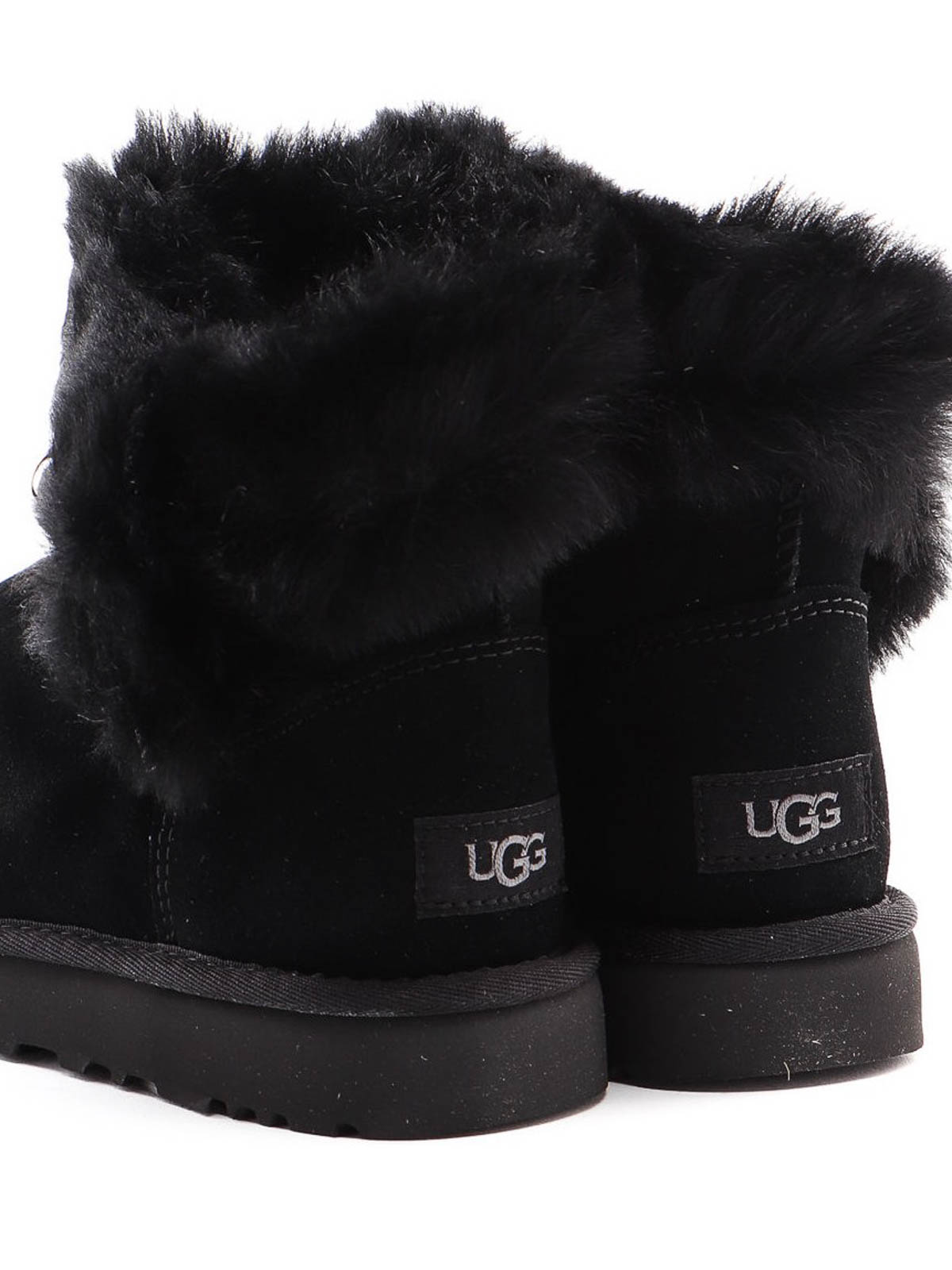 UGG Ugg Classic Fluff Pin Mini Black Ankle Boot In Suede
