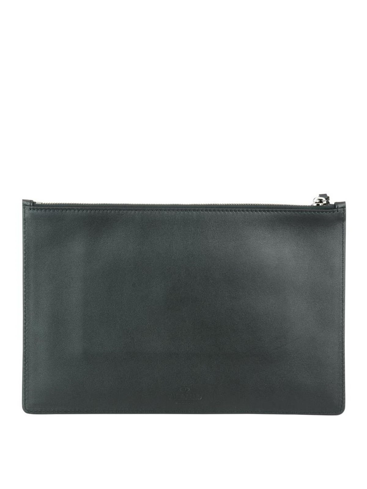 Valentino Camu leather and fabric clutch