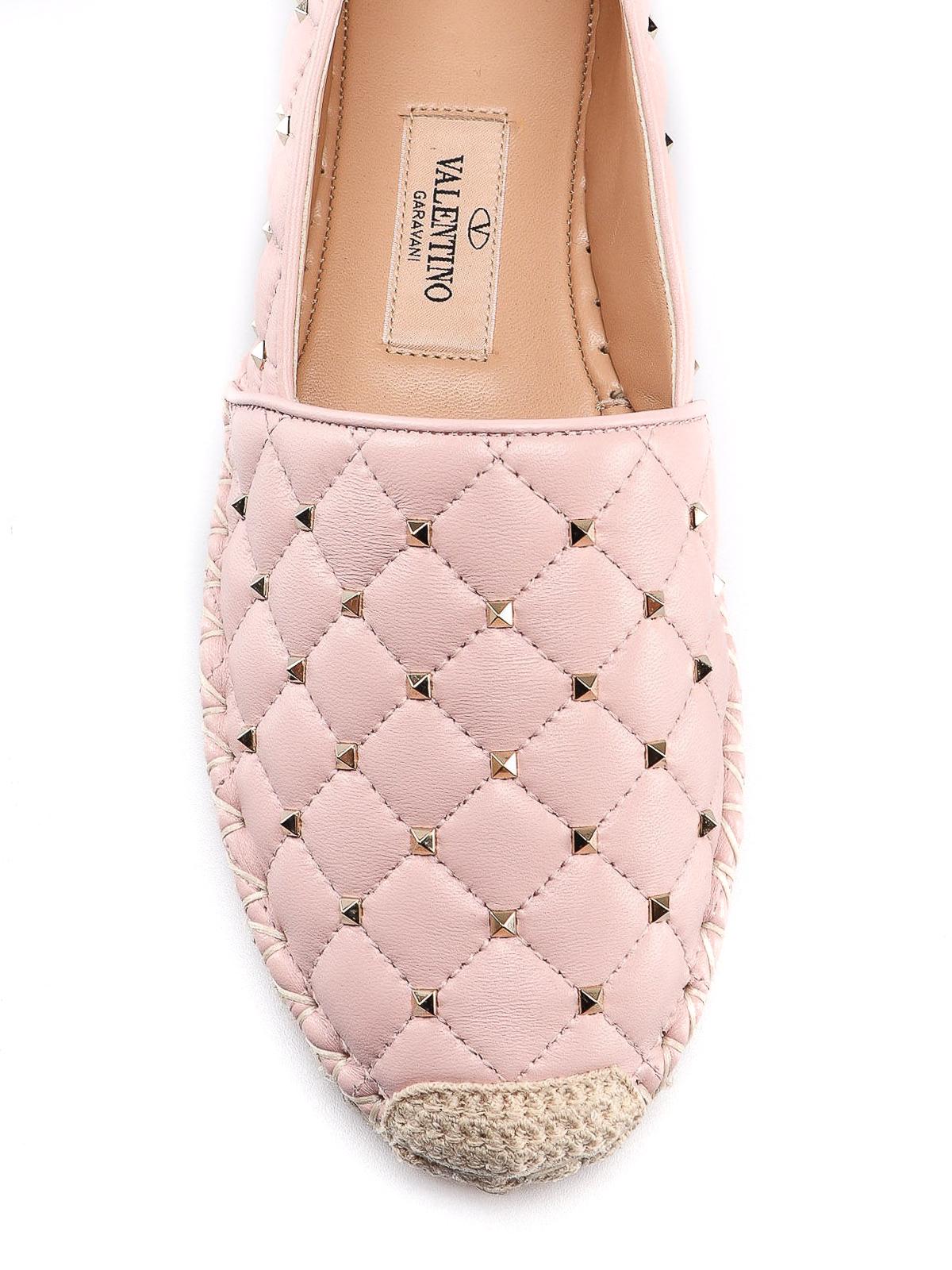 4b4893e2b iKRIX VALENTINO GARAVANI: espadrilles - Rockstud light pink leather  espadrilles